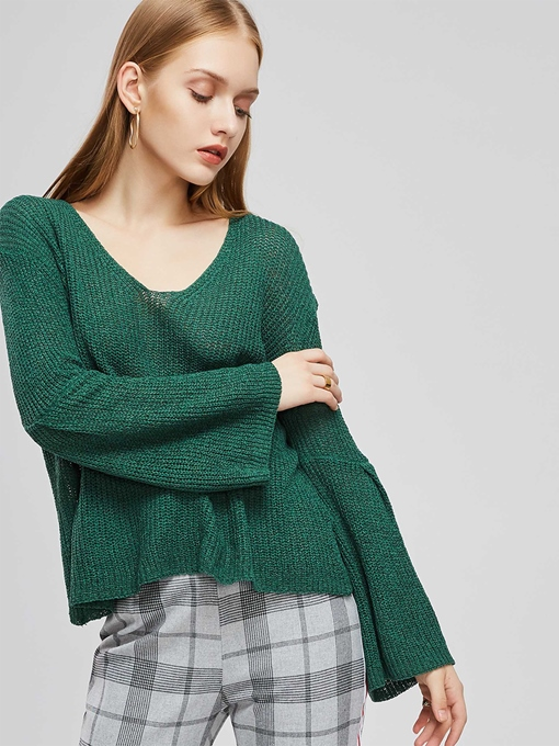 Loose Fit Bell Sleeve V-Neck Women's Sweater