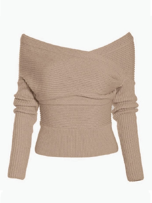Off Shoulder Pleated Long Sleeve Women's Sweater