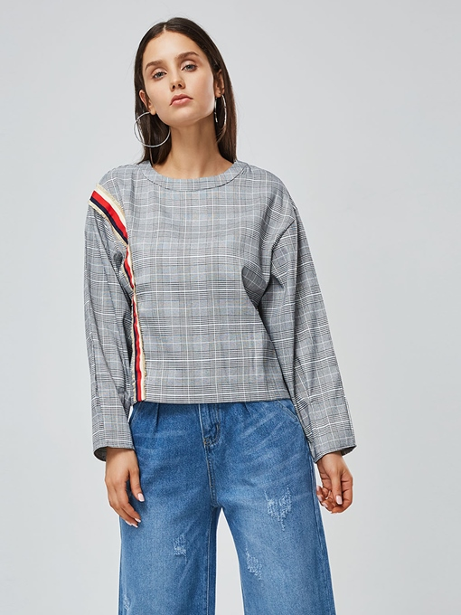 Round Neck Color Block Plaid Women's Blouse