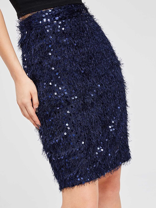 Bodycon Sequins Plain Women's Skirt