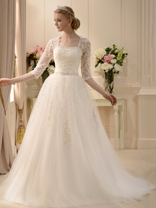 Square Neck Half Sleeve Beaded Wedding Dress