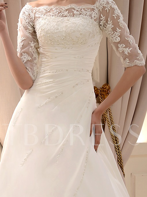 Princess Half Sleeve Appliques Lace Wedding Dress