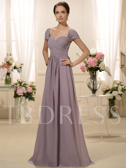 Pleats Cap Sleeve Mother of the Bride Dress
