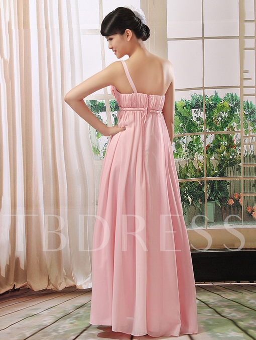 Ruched One-Shoulder Flowers Bridesmaid Dress