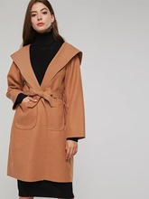 Lace Up Dual Pocket Notched Lapel Women's Trench Coat