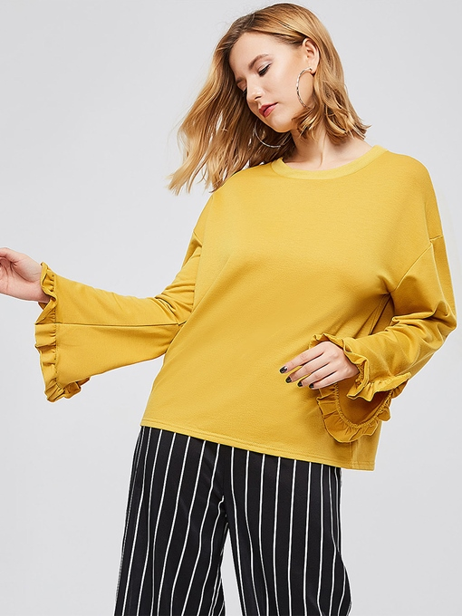 Loose Fit Solid Color Flare Sleeve Women's Sweatshirt