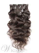 Remy Wavy Clip In Human Hair Extensions 7PCS Virgin Hair