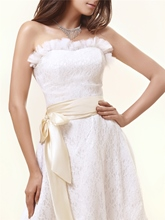 Strapless Sashes Knee-Length Lace Wedding Dress