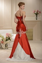 Mermaid Appliques Beading Red Wedding Dress
