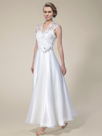 Lace Sequins Ankle-Length Beach Wedding Dress Lace Sequins Ankle-Length Beach Wedding Dress