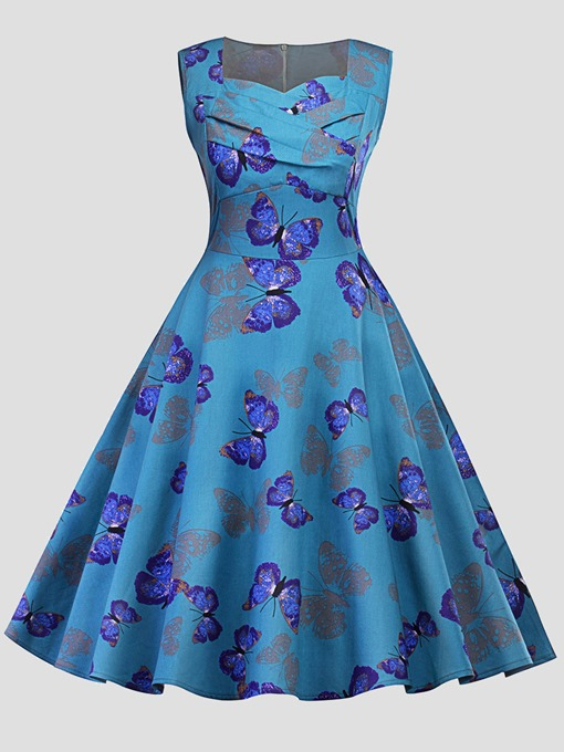 Blue Butterfly Pattern Women's Day Dress
