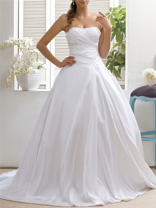 Strapless Appliques Sequins Lace-Up Wedding Dress