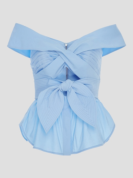 Back Zipper Plain Bow Knot Women's Blouse