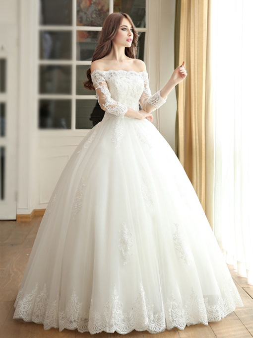 Off the Shoulder Ball Gown 3/4 Length Sleeve Wedding Dress