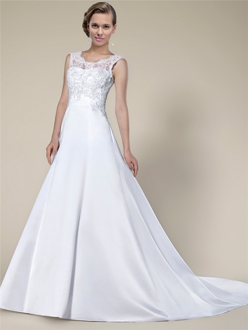 Lace Appliques Chapel Train Wedding dress