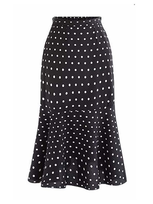 Polka Dots High-Waist Mid-Calf Mermaid Women's Skirt
