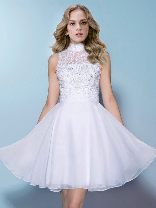 High-Neck Beading Lace Short Wedding Dress