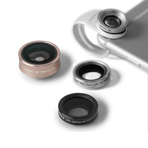 MOMAX 4-in-1 120 Degree Wide Angle & 15X Macro Lens & 180 Degree Fisheye & CPL Filter for Smartphone Tablet