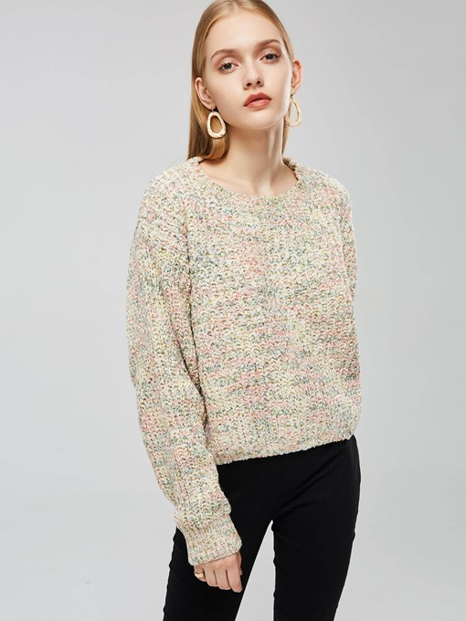 Pullover Loose Fit Round Neck Women's Sweater