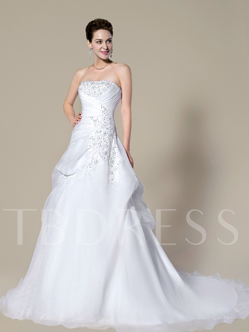 Strapless Appliques Sequins Pick-Ups Wedding Dress