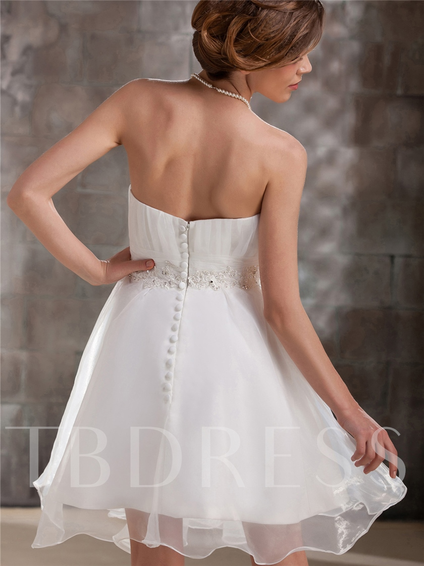 Sweetheart Beading Short Beach Wedding Dress