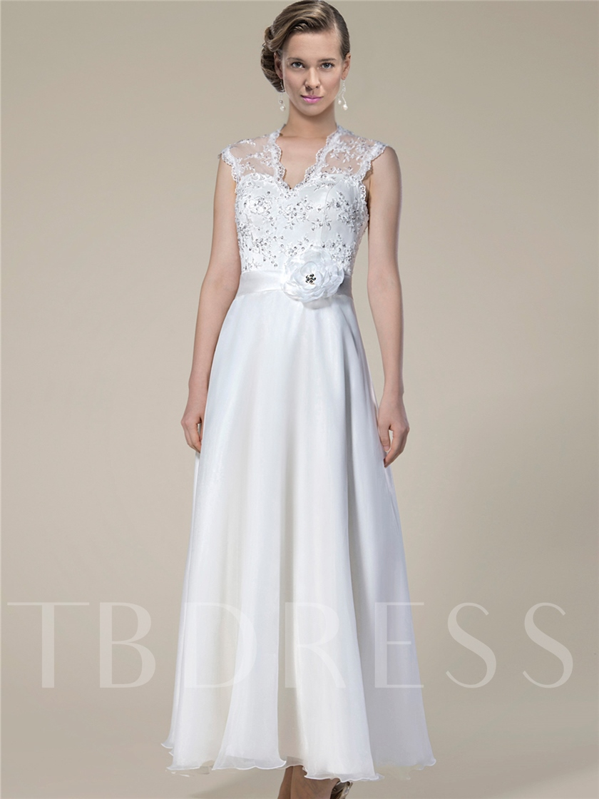 Lace Sequins Ankle-Length Beach Wedding Dress