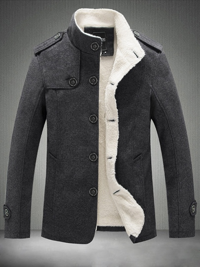 mens sherpa lined coat with single breasted