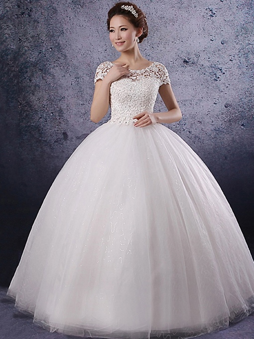 Princess Beading Short Sleeves Lace Wedding Dress