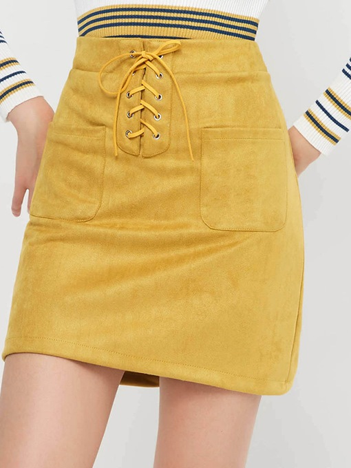 Lace-Up Bodycon High-Waist Suede Women's Mini Skirt
