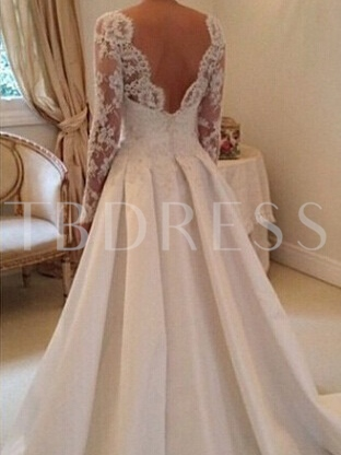 A-Line Appliques Wedding Dress with Long Sleeve