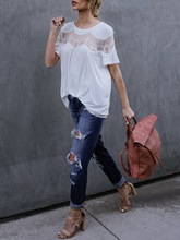 Loose Mesh See-Through Lace Women's T-Shirt