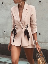 Notched Lapel Lace-Up Women's Casual Blazer