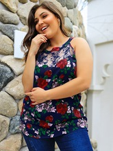 Floral Print See-Through Plus Size Women's Tank Top