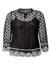 Lace See-Through Plus Size Women's Blouse