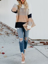 Loose Color Block Mid-Length Women's Sweater