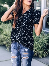 V-Neck Polka Dots Lace-Up Short Sleeve Women's T-Shirt