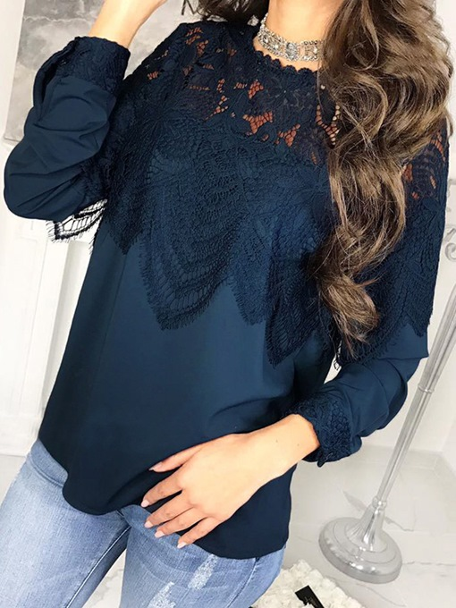 Round Neck Lace Patchwork Hollow Women's Blouse