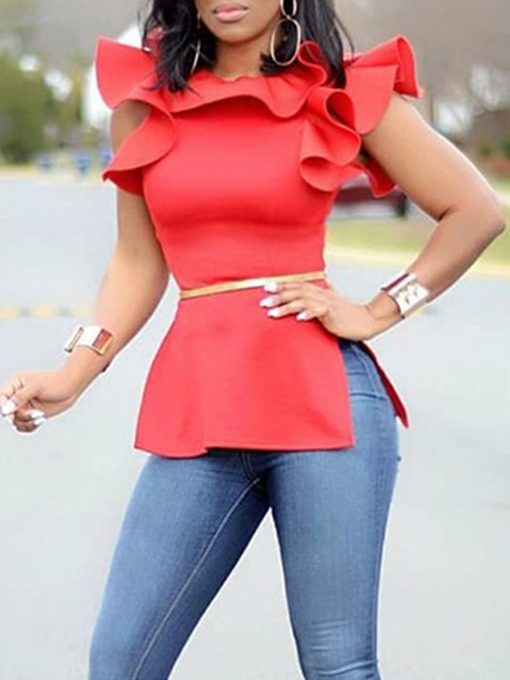 Falbala Ruffle Sleeve African Fashion Plain Women's Blouse