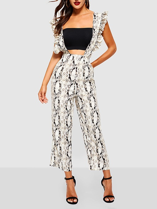 Ankle Length Serpentine Casual Falbala High-Waist Women's Jumpsuit