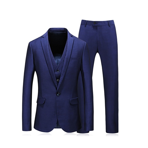Blue/Black Color Formal Blazer Plain One Button Men's Dress Suit