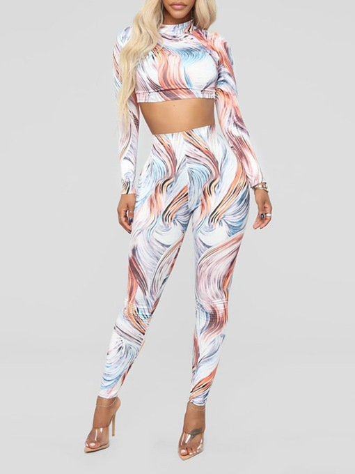 T-Shirt Sexy Print Pullover Women's Two Piece Sets