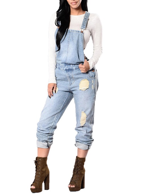 Western Full Length Plain Hole Mid-Waist Women's Overalls