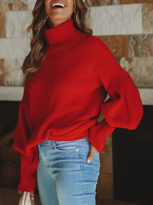 Turtleneck Lantern Sleeve Loose Women's Sweater