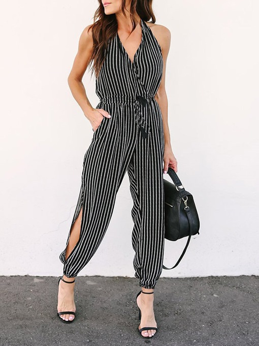 Casual Backless Full Length Stripe High-Waist Women's Jumpsuit
