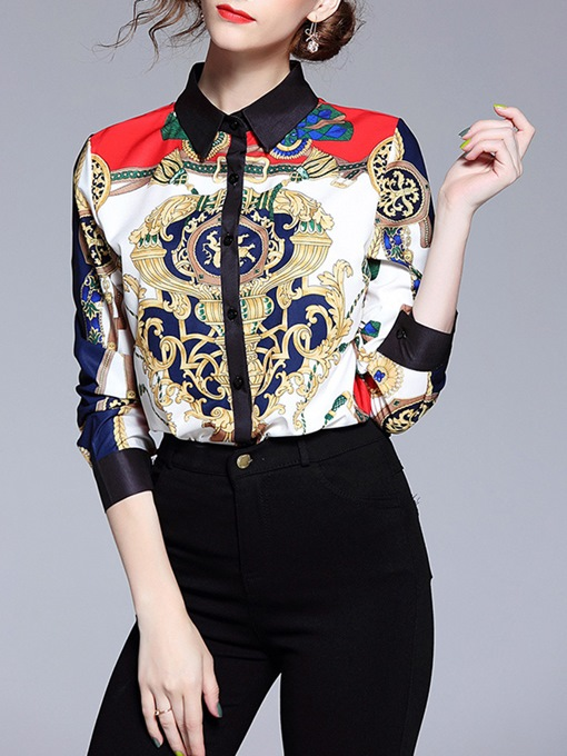 Lapel Geometric Medal Print Women's Shirt