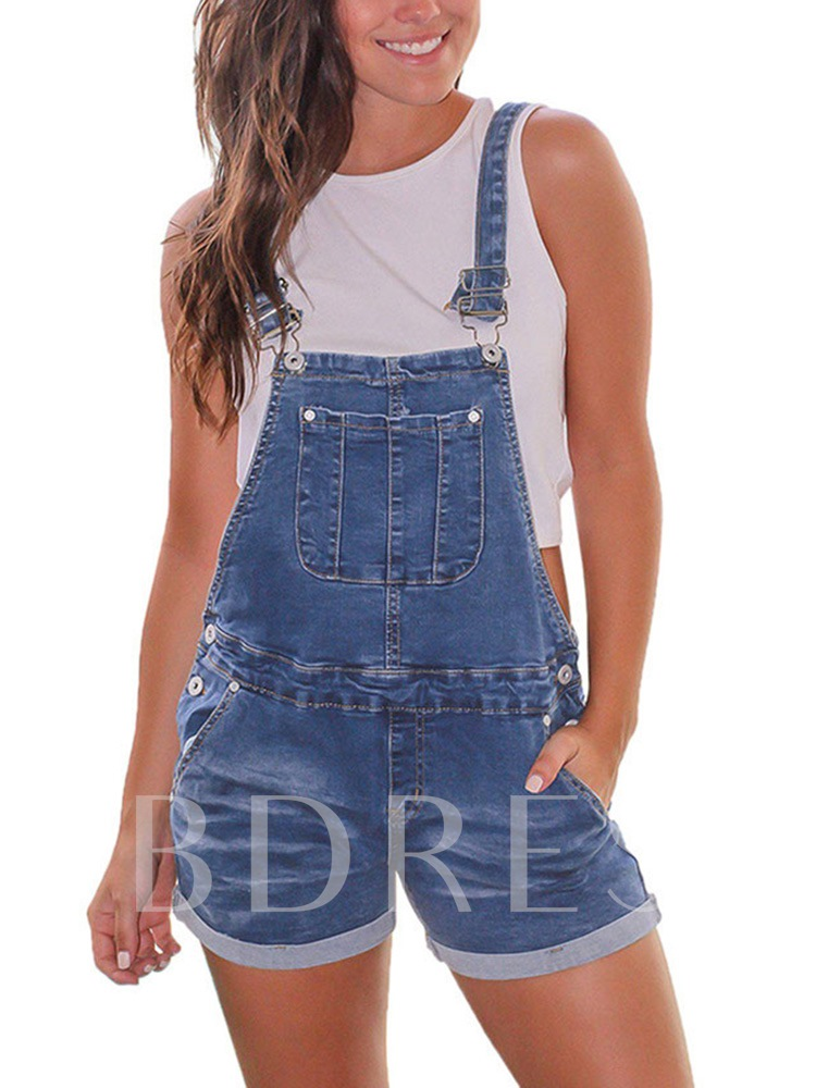 Plain Suspenders Casual Shorts Loose Women's Overalls