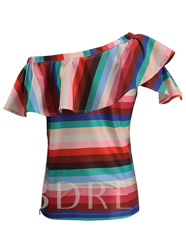 Stripe Ruffle Sleeve Asymmetric Women's Blouse