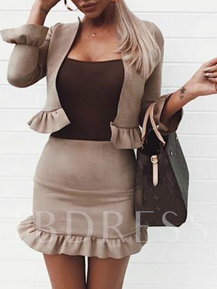 Pleated Skirt Plain Fashion Bodycon Women's Two Piece Sets