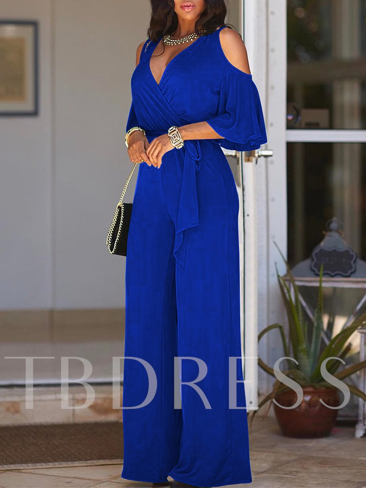 Plain Full Length Mid-Waist Women's Jumpsuit