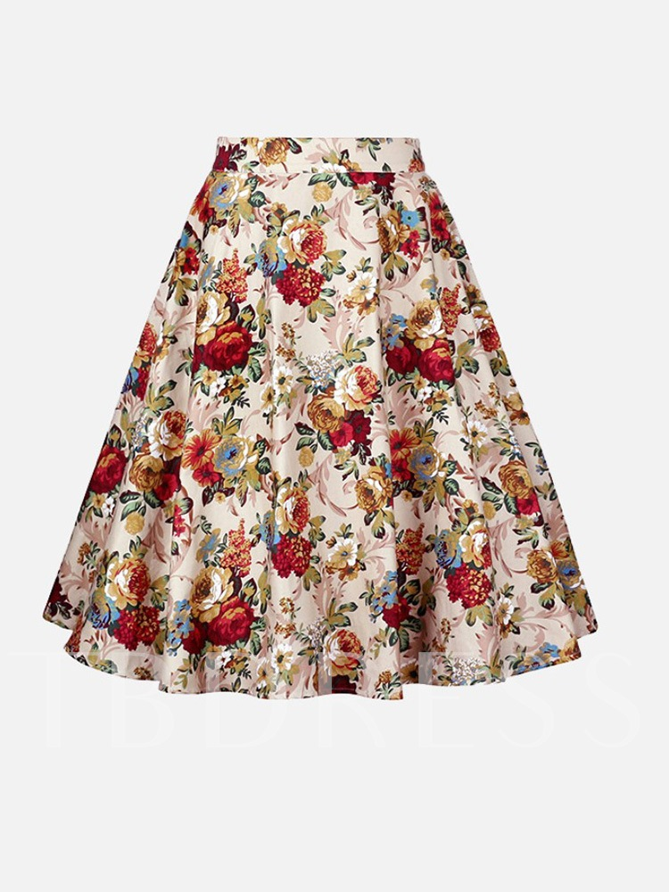 Expansion Print Knee-Length Floral Women's Skirt